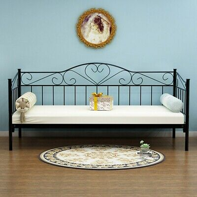 £68.99 • Buy Day Bed Solid Metal Bed Frame 3ft Single Bed Sofa Guest Bed Sustainable Daybed