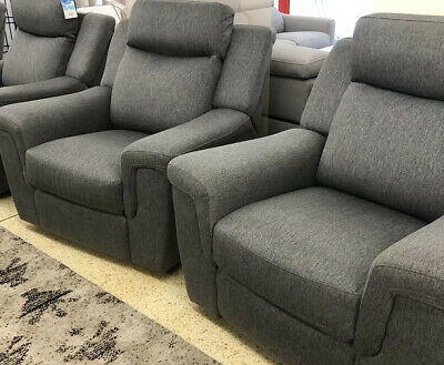 PAIR Of Recliner Chairs Well Made Grey Fabric Ideal Home Cinema Pocket Sprung • 599£