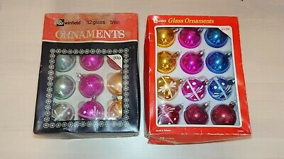 Box Of 12 Vintage Glass Winfield / Woolworths Christmas Tree Ornaments Baubles  • 18£