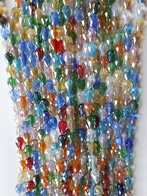 Strand Teardrop Faceted Glass Crystal Beads 15x10mm 28 Beads Mixed Colour • 3.79£