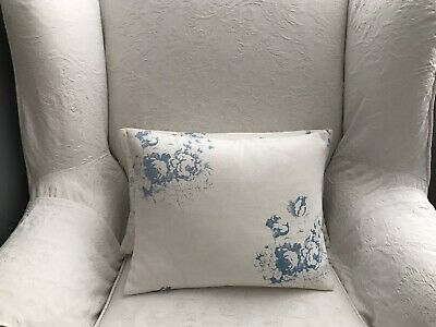 Cabbages And Roses Hatley Blue Linen Fabric Cushion Cover. • 25£