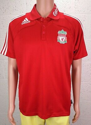 Men's ADIDAS LIVERPOOL F.C. Carlsberg RED Football Polo TEE MEDIUM 38 -40  G.C. • 8.99£
