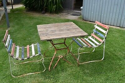 AU150 • Buy Vintage  Painted Timber Slat & Steel Three Piece Outdoor Setting For Restoration