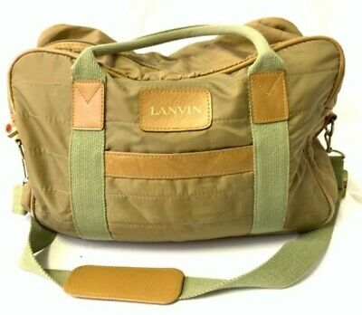 Vintage LANVIN Khaki Quilted Nylon Convertible Tote Travel/Gym Bag Duffle • 13.95£
