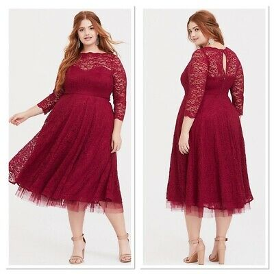 AU90.42 • Buy NWT Torrid Special Occasion Red Wine Lace Dress Sz 14