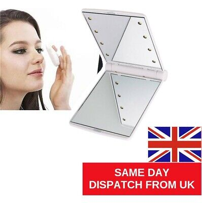 £5.25 • Buy Folding LED  Mirror Cosmetic Compact With 8 Lights Lamps Portable