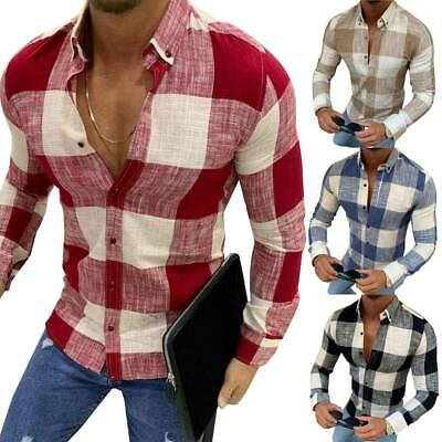 Mens Casual Long Sleeves Slim Fit Shirts Buttons T-Shirt Tunic Blouse Tee Tops • 16.59£