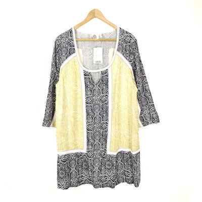 $ CDN29.90 • Buy Anthropologie Lilka Tunic Top Blouse Large Floral Keyhole Neck Rayon 3/4 Sleeve