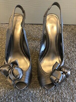 Womens Pewter Satin Shoes From Dorothy Perkins Size 5 • 8£