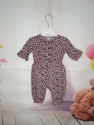 Baby Girl 3-6 Months Primark Animal Leopard Print Dungarees  • 3£