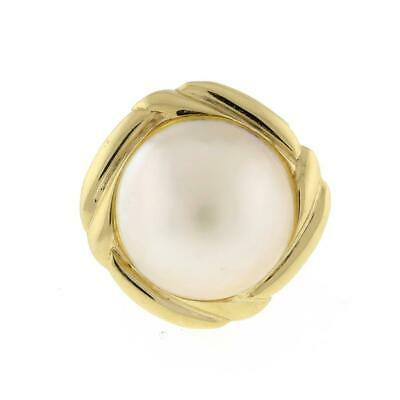 $291.36 • Buy Vintage Mabe Pearl Dome Ring 14K Yellow Gold 14 Mm Pearl Ladies Size 5