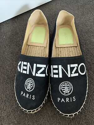AU90 • Buy Kenzo Espadrilles Shoes Flats Size 39 Black Cotton With Leather Lining $385