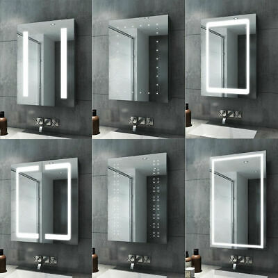 LED Bathroom Mirror Cabinet Lights Illuminated With Demister Shaver Socket Touch • 70.39£