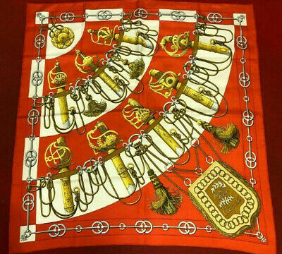 AU28.06 • Buy Hermes Scarf Scarves Wrap Light Silk 100% Authentic Red 90cm Junk Cliquetis
