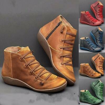 Women's Winter Arch Support Boots Lady Flat Heel Side Zip Casual Ankle Shoes UK • 17.69£