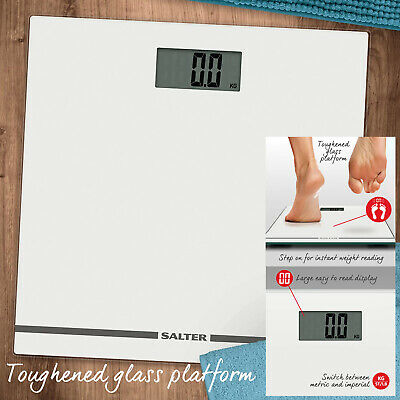 Salter Large Display Glass Electronic Bathroom Scale Accurat Body Weighing 180kg • 18.99£
