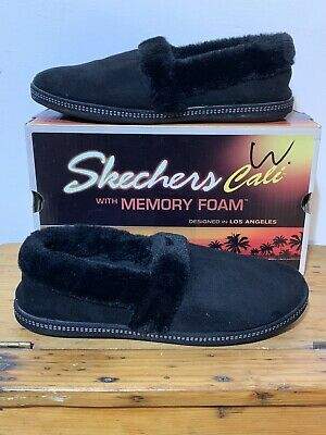 ✅New Womens SKECHERS BOBS CALI  SLIPPERS SIZE 7 MULES FAUX FUR LINED MEMORY FOAM • 25.99£
