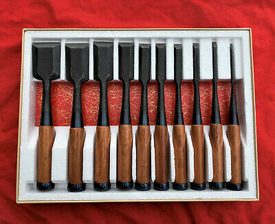 Set Of Ten Japanese Bench Chisel  Chukou   White Steek #2 By Yasushi Hanyu • 285.51£