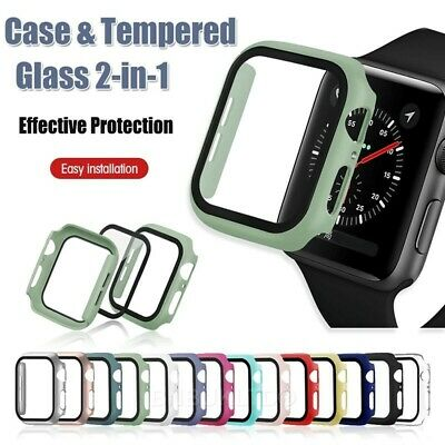 $ CDN6.49 • Buy For Apple Watch Case Series 1/2/3/4/5/6/SE Full Cover Glass Screen Protector