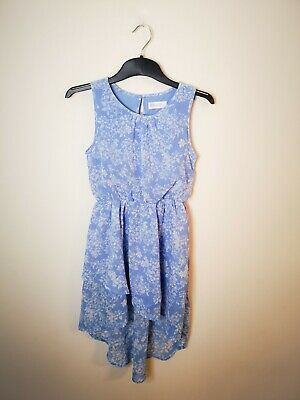 H&M Age 9-10 Blue Floral Print Midi Dress High Low Dress Girls  Summer Dress • 6.99£