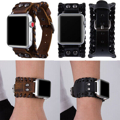 AU18.07 • Buy Leather Watch Band Bracelet Cuff For Apple IWatch Series 6 5 4 3 2 SE 38-44MM