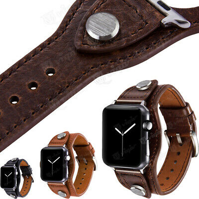 AU24.98 • Buy Leather Bracelet Cuff Watch Band Strap For Apple IWatch Series 6 5 4 3 2 38-44mm