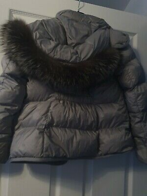 £225 • Buy Grey Moncler Coat With Fur Age 12