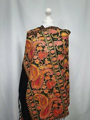 £40 • Buy Kashmiri Shawl Embroidery Floral Embroidered Cashmere Wool Scarf Womens