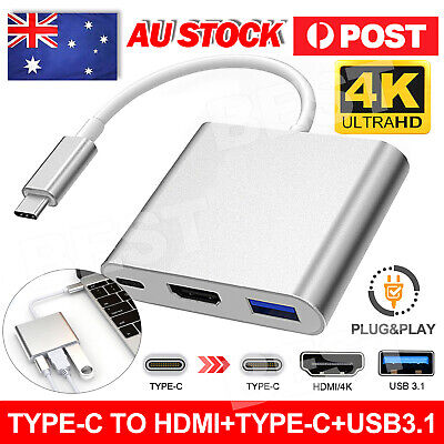 AU15.95 • Buy Type C To USB-C HDMI USB 3.0 Adapter Converter Cable 3 In 1 Hub For MacBook Air
