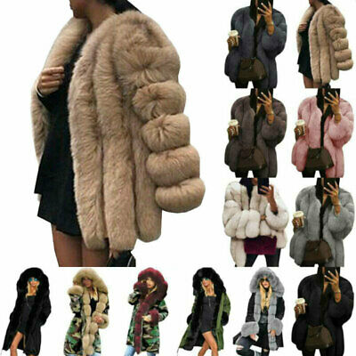 Womens Fluffy Faux Fur Parka Coats Winter Warm Thick Outerwear Jacket Overcoat/* • 51.49£