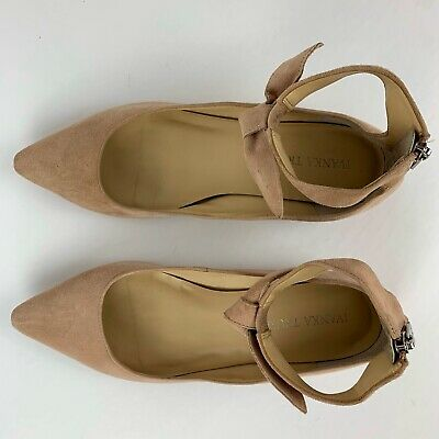 $ CDN58.40 • Buy IVANKA TRUMP Tramory Suede Ankle Strap Flats 7 Pink Shoes Bow Pointed Toe