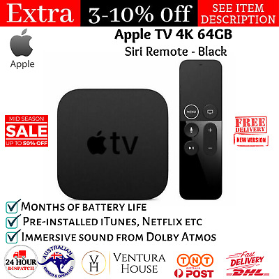 AU323.95 • Buy Genuine Apple TV (5th Generation) 4K 64GB HD Media Streamer Netflix Siri Remote