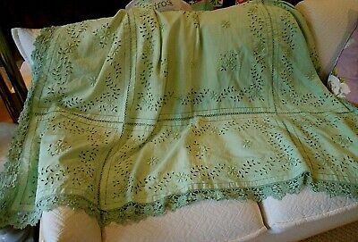 Large Vintage Linen Bedspread/throw/table Cloth Hand Embroidered Shabby Chic • 32£