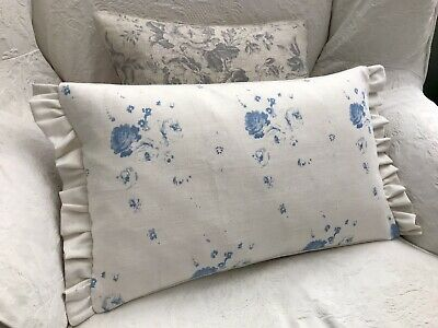 Cabbages And Roses Podge Blue Linen Fabric Cushion Cover With Frill • 25£