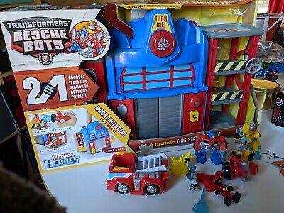 Imaginext Playskool Heroes Transformers Rescue Bots Fold And Go Fire Station • 11.50£