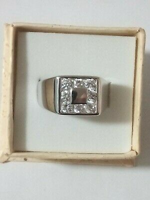 AU125 • Buy Mens 14k White Gold Ring With 8 LAB Created Diamonds.