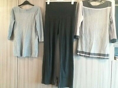 Bundle Of Maternity Clothing - Size 12 Black Trousers & 2 Grey Next Tops/jumpers • 3.50£
