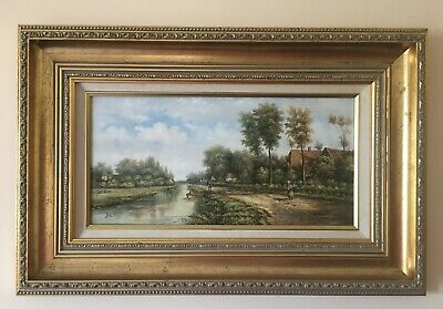 River Landscape - Rustic Country Scene - Oil Painting On Board - Signed: Dale • 150£