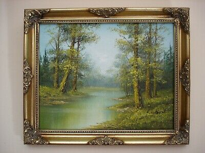Oil Painting On Board - Lake And Woodland Landscape - Signed Lambert • 35£