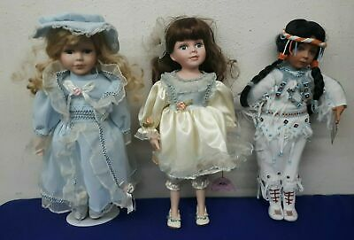$ CDN44.18 • Buy Lot Of 3 Porcelain 16  Dolls Native American Doll, Yellow & Blue Dresses PRETTY