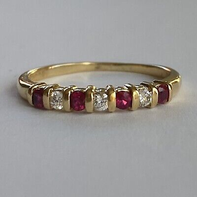 £425 • Buy Fine Ruby And Diamond Half Eternity Ring 18ct Yellow Gold Size Q (US 8)
