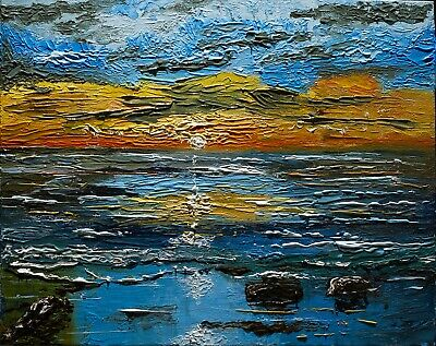 Sunset Beach Colourful Ocean Original Oil Painting By Artist Chatura • 0.99£