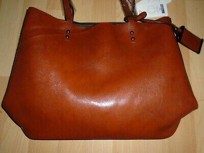 Women`s Faux Leather Tote Shoulder Bag In Tan Brown • 14.99£
