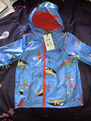 New Boys Joules Blue Dinosaur Print Rubber Coat, Age 3 Years • 25.95£