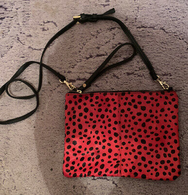 BNWT Spotty Red And Black Clutch Bag With Strap • 4.99£