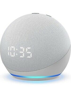 AU93.15 • Buy Amazon Echo Dot With Clock And Alexa (4th Generation) Glacier White *NEW*