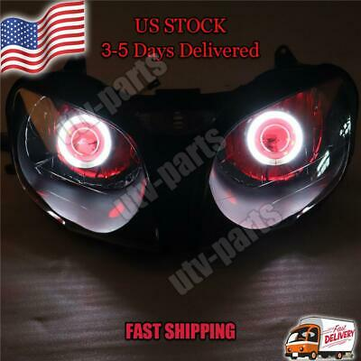$259.99 • Buy FA Front Headlight Red Angel Eye Fit For Kawasaki 2000-2002 ZX6R 636 D014