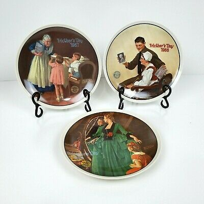 $ CDN13.28 • Buy Lot Of 3 Norman Rockwell Mother's Day Collector Plates 1984, 1987, 1988