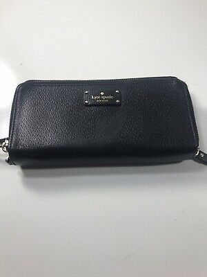 $ CDN32.49 • Buy Kate Spade New York Continental Black Leather Zip Around Wallet Clutch
