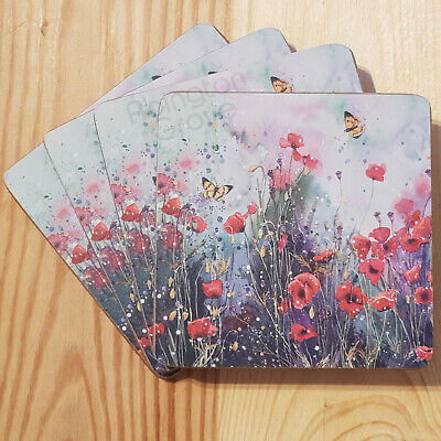 £5.99 • Buy Set Of 4 Poppy Cork Coasters New Floral Butterfly Coffee Hot Drinks Table Mats